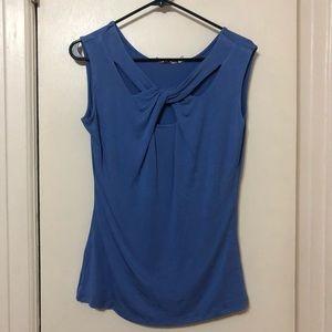 Blue twist front top